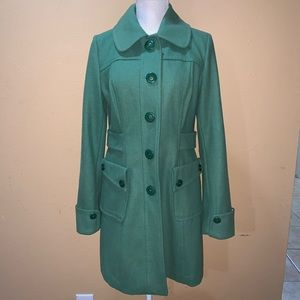 Women's large Tulle pear green button up coat wool